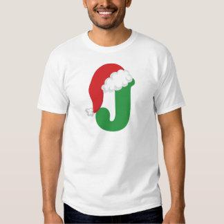 Christmas Letter J Alphabet Tee Shirt