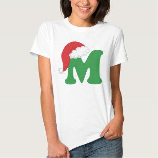 Christmas Letter M Alphabet Tee Shirt