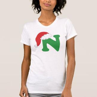 Christmas Letter N Alphabet T Shirts