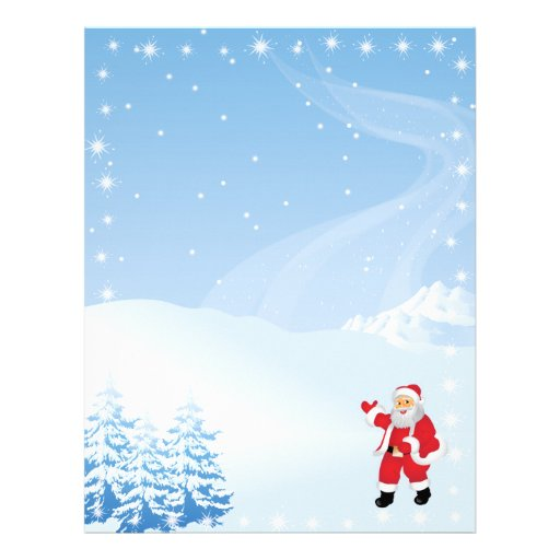Christmas Letter Paper - Santa Claus Waving Letterhead | Zazzle