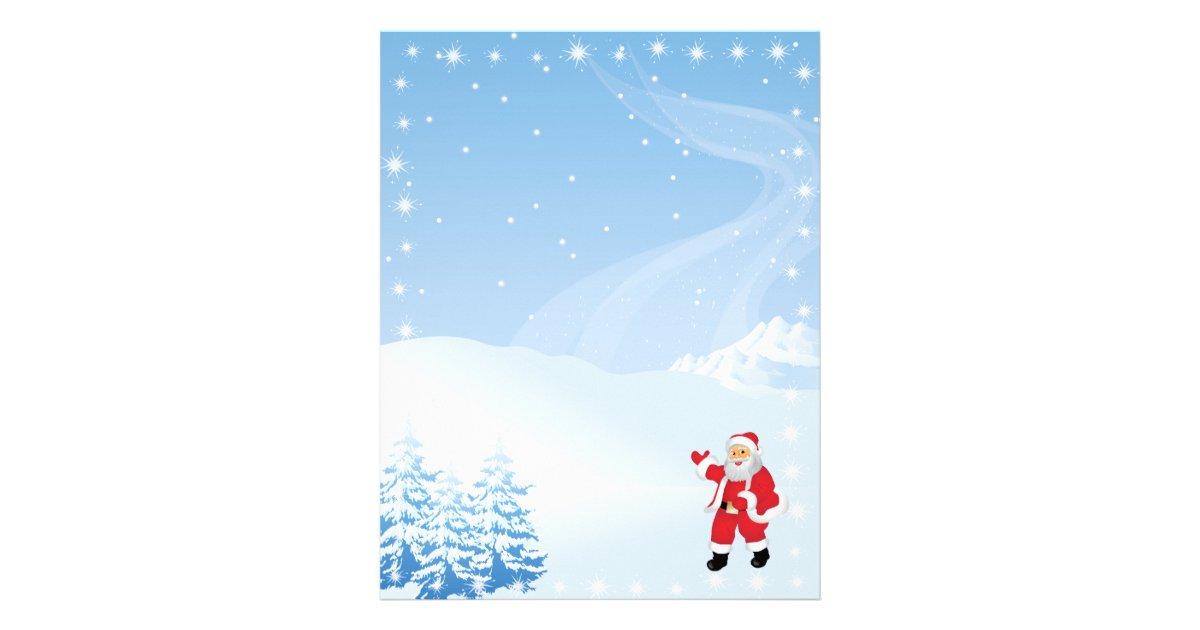 Christmas Letter Paper - Santa Waving Letterhead   Zazzle