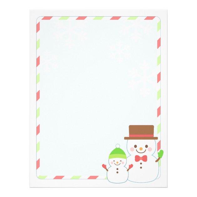 Christmas Letter Paper - Smiling Snowman | Zazzle
