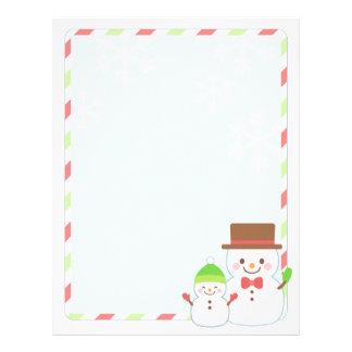 Christmas Letter Paper - Smiling Snowman Letterhead