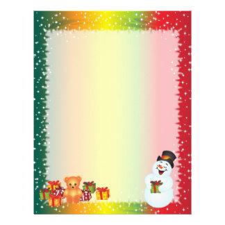 Christmas Letter Paper - Smiling Snowman Letterhead Template