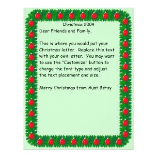 Christmas letter Pine Border Letterhead