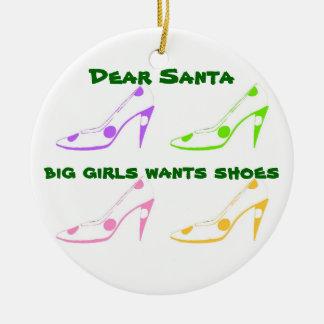 Christmas Letter to Santa for Shoe Lovers Ceramic Ornament