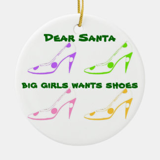 Christmas Letter to Santa for Shoe Lovers Double-Sided Ceramic Round Christmas Ornament