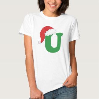Christmas Letter U Alphabet Tee Shirt