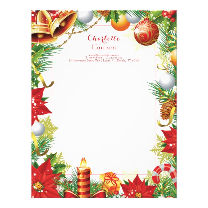 Christmas Letters Traditional Festive Personalized Letterhead Zazzle Com