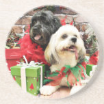 Christmas - Lhasa Apso - Clover and Pixie Drink Coasters