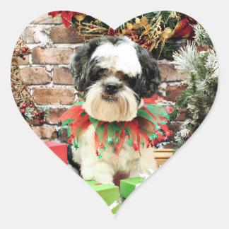 Christmas - Lhasa Apso - Parker Heart Sticker