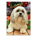 Christmas - Lhasa Apso - Solo Greeting Cards