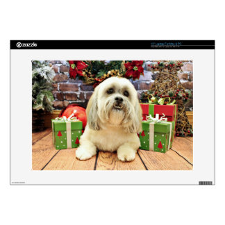 """Christmas - Lhasa Apso - Solo Decals For 15"""" Laptops"""