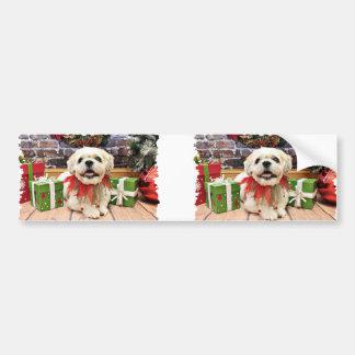Christmas - Lhasa Apso X - Bailey Bumper Sticker