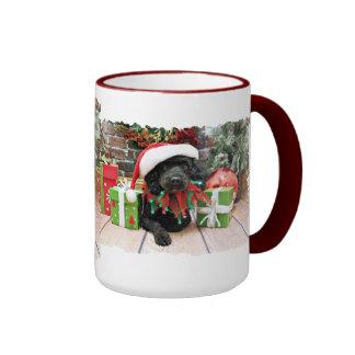 Christmas - LhasaPoo - Buddy Ringer Mug