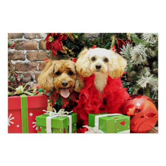 Christmas - LhasaPoo Butterscotch - CockaPoo Odie Print