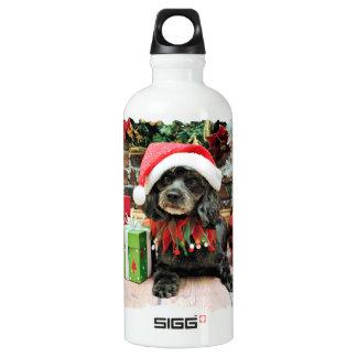 Christmas - LhasaPoo - Leo Aluminum Water Bottle