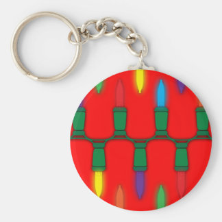 Christmas Light Pattern Red Keychains