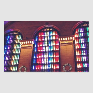 Christmas Light Show in Grand Central Station, NYC Rectangular Sticker