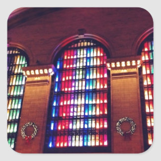 Christmas Light Show in Grand Central Station, NYC Square Sticker