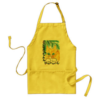 Christmas Light String and the Cat Adult Apron