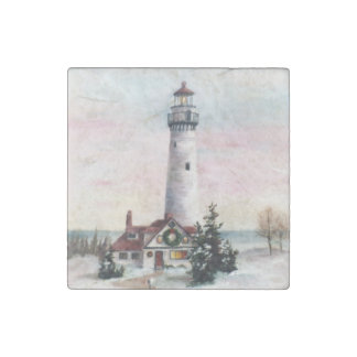 Christmas Lighthouse Stone Magnet