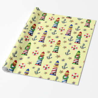 Christmas Lighthouse Nautical Yellow Background Wrapping Paper