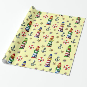 Christmas Themed Christmas Lighthouse Nautical Yellow Background Wrapping Paper
