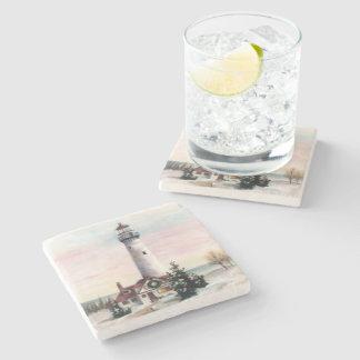 Christmas Lighthouse Stone Beverage Coaster