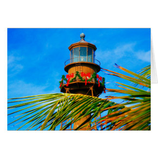 Christmas Lighthouse with palm tree Card