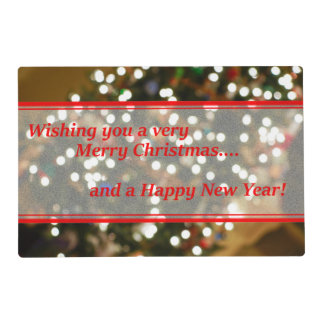 Christmas Lights Abstract Laminated Place Mat