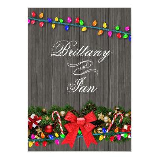Christmas Lights Barn Wood Wedding   charcoal 5x7 Paper Invitation Card