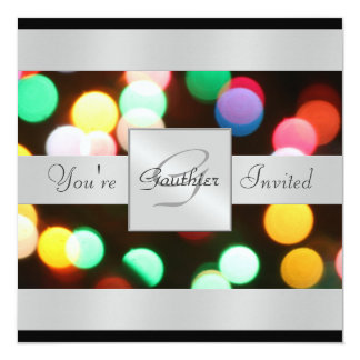 Christmas Lights Black Holiday Silver Invitation