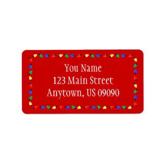 Christmas Lights Border Address Labels (Red)