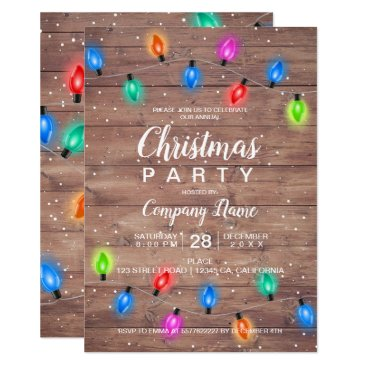 Professional Business Christmas lights brown wood business corporate card