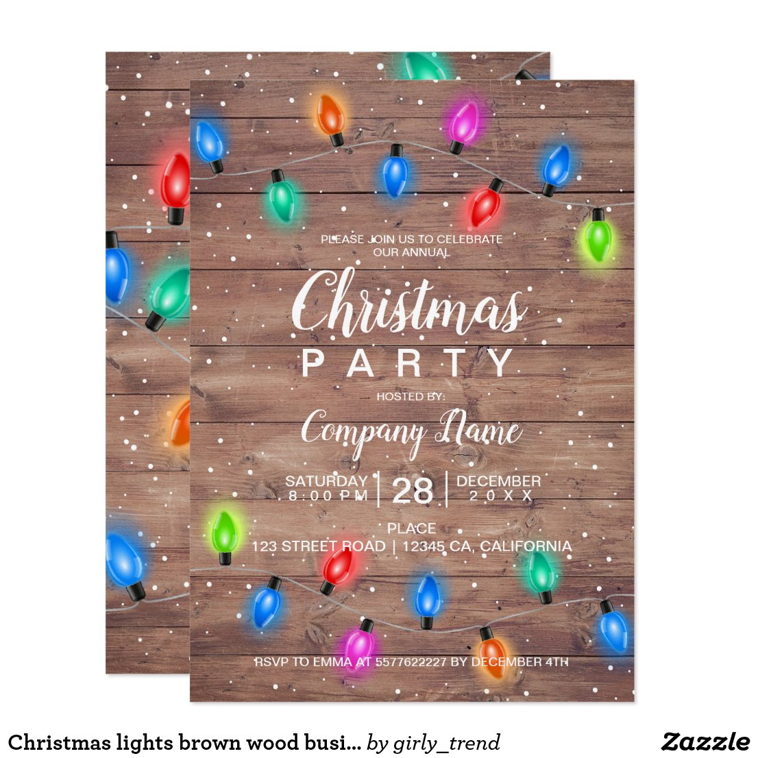 Christmas lights brown wood business corporate invitation