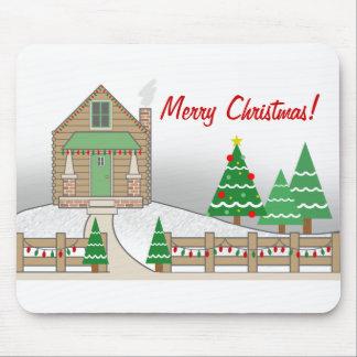 Christmas Lights Cabin Christmas Mousepad