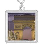 Christmas lights, Champs Elysees, Arc de Square Pendant Necklace