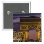 Christmas lights, Champs Elysees, Arc de Pinback Button