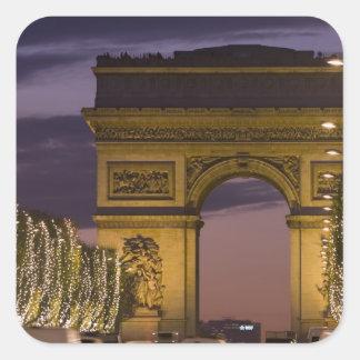 Christmas lights, Champs Elysees, Arc de Square Sticker