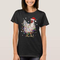 Christmas Lights Chicken Santa T-Shirt