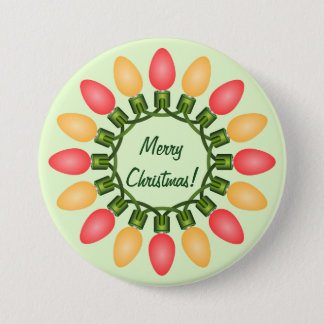 Christmas Lights Circle in Red and Orange Pinback Button