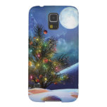 Christmas lights decorated tree moon night case galaxy s5 cover
