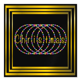Christmas Lights Design on Black with Gold Magnetic Card