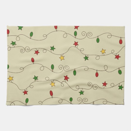 Christmas Lights Doodle Pattern Kitchen Towel