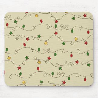 Christmas Lights Doodle Pattern Mousepad