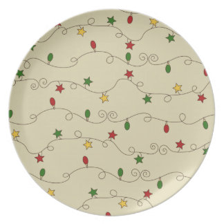 Christmas Lights Doodle Pattern Plate