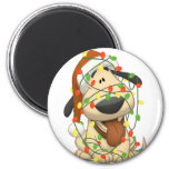 Christmas Lights Funny Puppy Dog 2 Inch Round Magnet