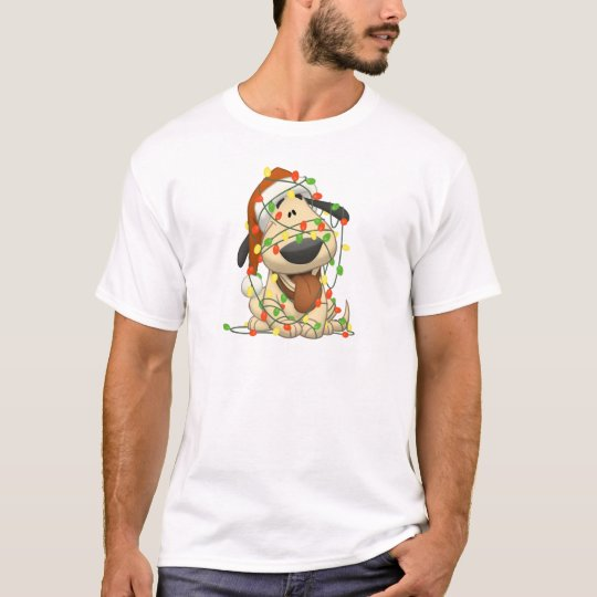 Christmas Lights Funny Puppy Dog T-Shirt