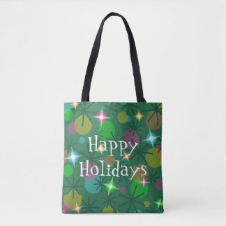 Christmas Lights Happy Holidays all over tote bag